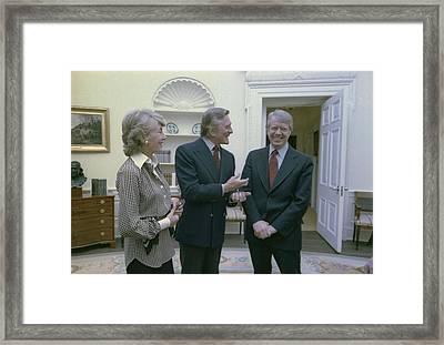 President Jimmy Carter Greets Actor Framed Print by Everett