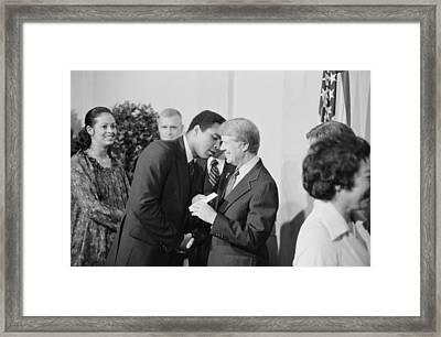 President Jimmy Carter Greets Mohammed Framed Print by Everett