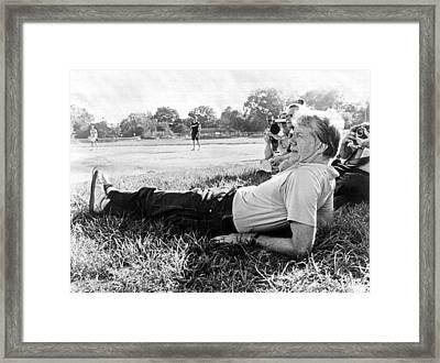 President Jimmy Carter Relaxing Framed Print by Everett