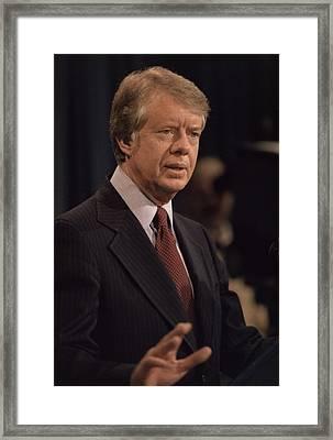 President Jimmy Carter Speaking Framed Print by Everett