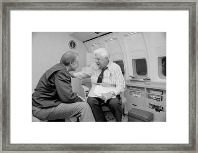 President Jimmy Carter Talking Framed Print by Everett