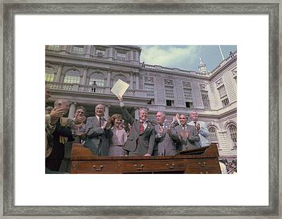 President Jimmy Carter With New York Framed Print by Everett