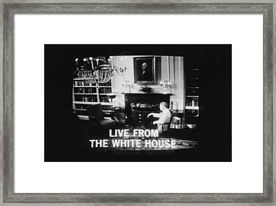 President Jimmy Carter Worn A Folksy Framed Print by Everett