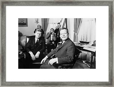 President John F. Kennedy And Mayor Framed Print by Everett