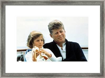 President John F. Kennedy Withdaughter Framed Print by Everett