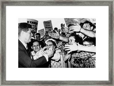 President John Kennedy Greets Framed Print by Everett