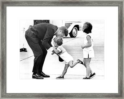 President John Kennedy Is Greeted Framed Print by Everett