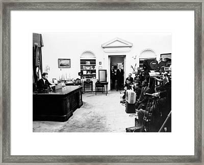 President John Kennedy Television Framed Print by Everett
