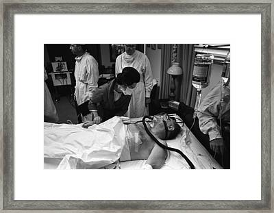 President Johnson After Surgery. Lady Framed Print by Everett