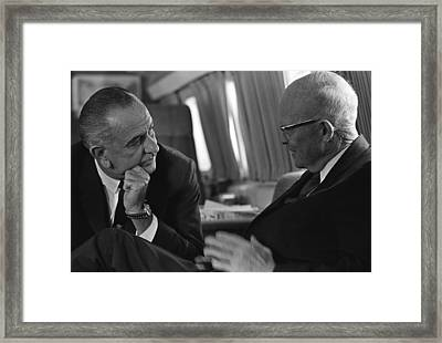 President Johnson Met With Former Framed Print by Everett