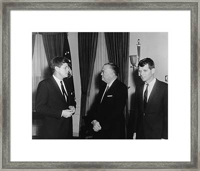 President Kennedy, J. Edgar Hoover Framed Print by Everett