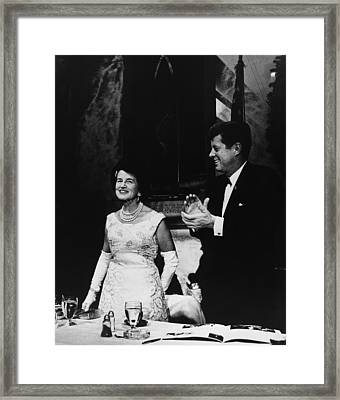 President Kennedy Joins In Applause Framed Print by Everett