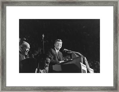 President Kennedy Speaks At Bean Feed Framed Print by Everett