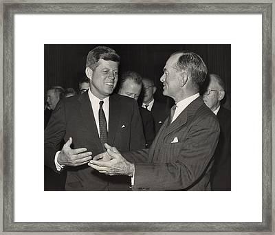 President Kennedy Talking With Arkansas Framed Print by Everett