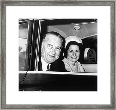President Lyndon B. Johnson And First Framed Print by Everett