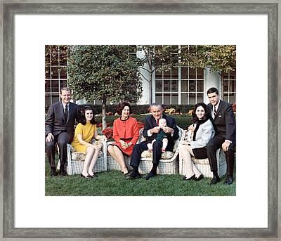 President Lyndon B.johnson, Posing Framed Print by Everett