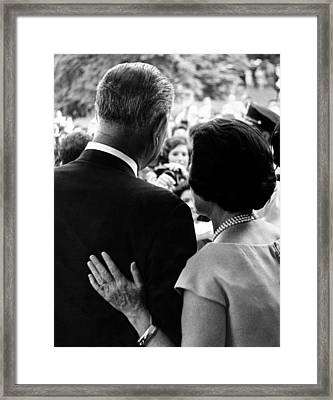 President Lyndon Johnson And Wife Lady Framed Print by Everett