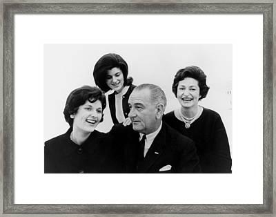 President Lyndon Johnson Family Framed Print by Everett