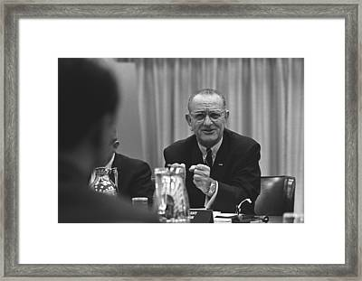 President Lyndon Johnson Gesturing Framed Print by Everett