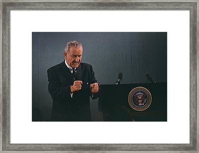President Lyndon Johnson In An Emphatic Framed Print by Everett