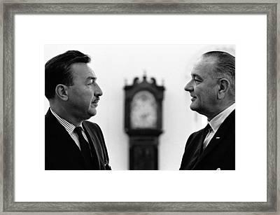 President Lyndon Johnson Meets With New Framed Print