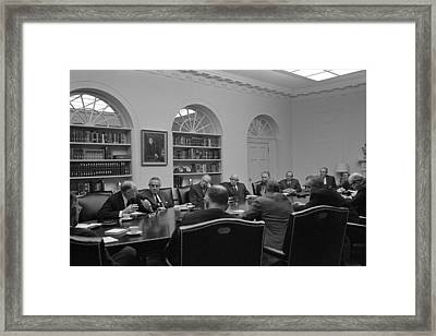 President Lyndon Johnson Meets With The Framed Print by Everett