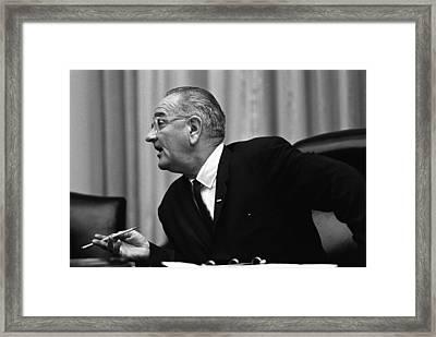 President Lyndon Johnson Speaking Framed Print by Everett