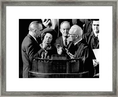 President Lyndon Johnson Takes The Oath Framed Print by Everett