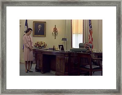President Lyndon Johnson Telephones Framed Print by Everett