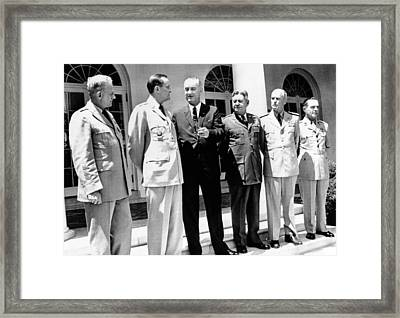 President Lyndon Johnson With The Joint Framed Print by Everett