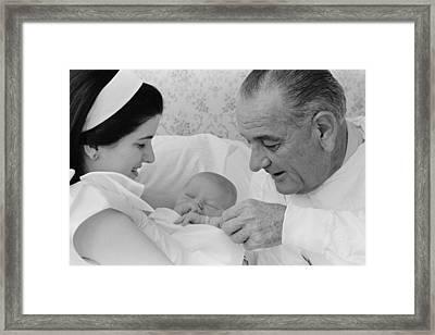 President Lyndon Johnsons First Framed Print by Everett