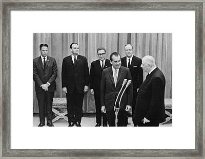 President Nixon And His Key Advisors Framed Print by Everett