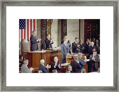 President Nixon Delivering His State Framed Print by Everett