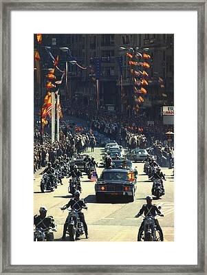 President Nixon Waves To The Crowd Framed Print