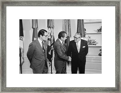 President Nixon With Attorney-general Framed Print by Everett