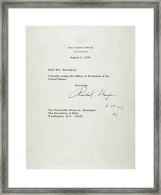 President Nixons Letter Of Resignation Framed Print