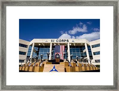 President Obama Addresses The Memorial Framed Print by Everett