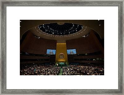 President Obama Addresses The Un Framed Print by Everett