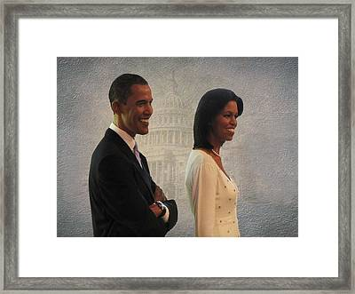 President Obama And First Lady Framed Print by David Dehner