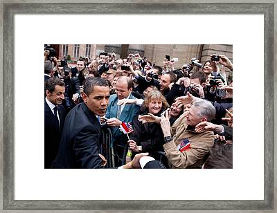 President Obama And French President Framed Print