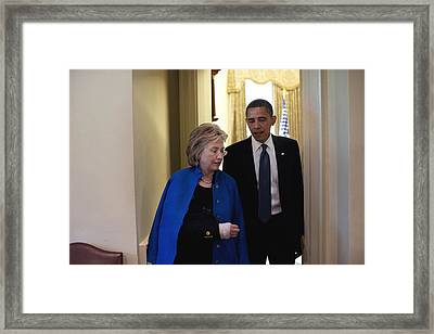 President Obama And Hillary Clinton Framed Print by Everett