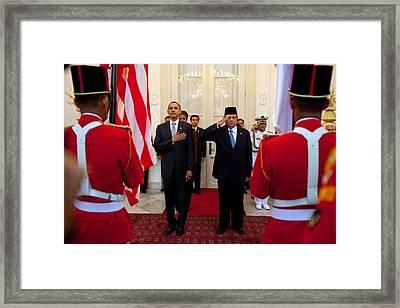 President Obama And Indonesias Framed Print