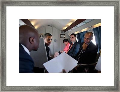 President Obama And Political Advisors Framed Print