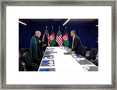 President Obama And President Hamid Framed Print by Everett