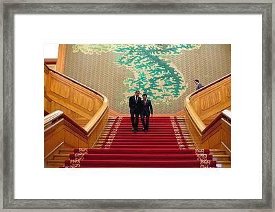 President Obama And President Lee Framed Print
