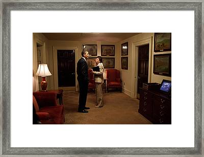 President Obama And Valerie Jarrett Framed Print