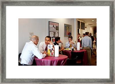 President Obama And Vp Joe Biden Wait Framed Print by Everett