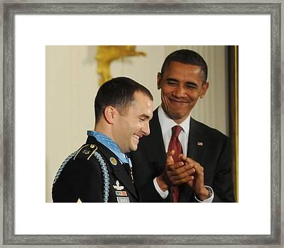 President Obama Applauds Framed Print by Everett