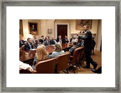 President Obama At A Bipartisan Meeting Framed Print