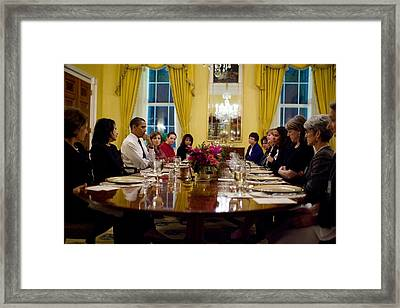 President Obama Attends A Womens Dinner Framed Print by Everett